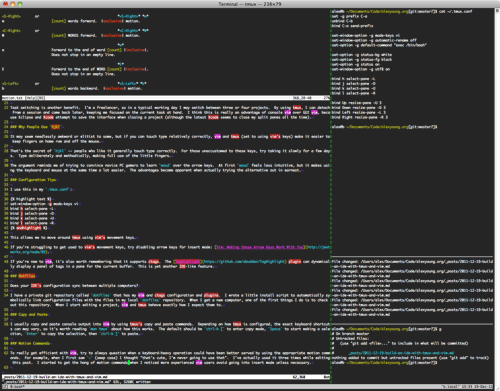 Screenshot of vim and tmux